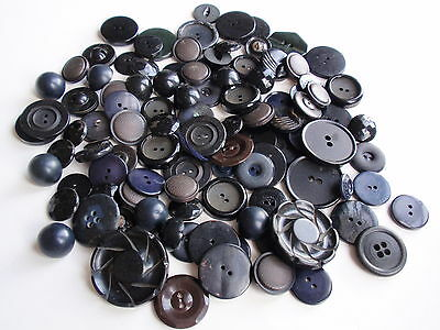 Vintage Group Lot Mixed Buttons Black Dark Blue Medium Large 103 Mid Century Old