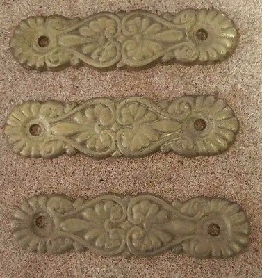 "Set of 3 Matching Ornate DRESSER DRAWER PULLs Soild BRASS   3"" holes (2oz each)"
