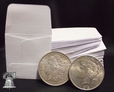 100 2x2 White Paper Coin Stamp Envelopes GUARDHOUSE Archival Acid & Sulpher Free