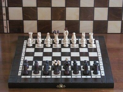 Brand New ♞Hand Crafted Wooden Chess And Draughts Set 35cm x 35cm ♖