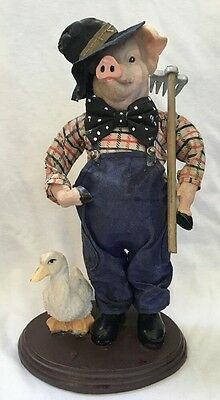 "Vintage Character Collectible 10"" Farmer Pig Figurine Statue With Duck UNIQUE!"