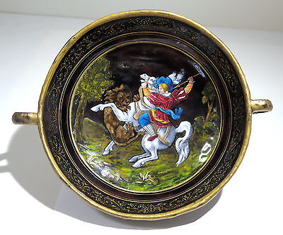 Antique French Limoges Enamel Charger/Bowl Renaissance Revival Motif Circa 1860s