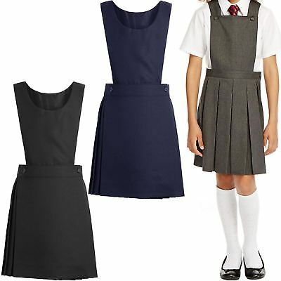 New Kids Girls Uniform Pleated Pinafore Bib Dress School Uniform Ages 3-10 Years