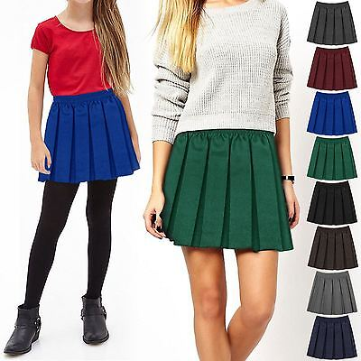 New Girls Box Pleated Skater Skirt Kids School Uniform Sports Elasticated Waist
