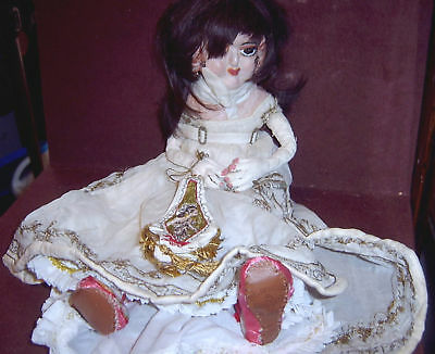 OOAK Paper Mache Lady Doll w Elegant Dress & Purse