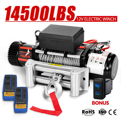 Outranger 14500LBS 12V Electric Winch 26M Steel Cable Remote Offroad 4WD Truck