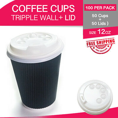 Disposable Coffee Cups+Lids 12 oz 50p/c Triple Wall Take Away Bulk