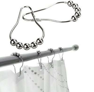 6Pcs Hot Window New Stainless Steel Shower Curtain Polished Rings Rolling Hooks
