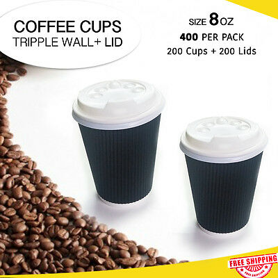 Disposable Coffee Cups+Lids Triple Wall 8 oz 200 Pc/Per Pk Take Away Bulk