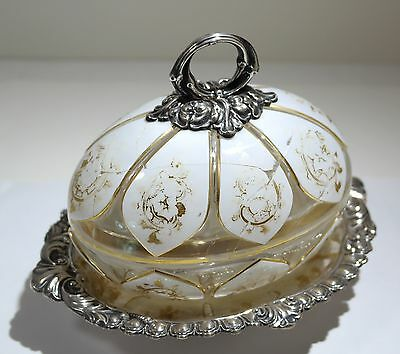 German 800 Silver Fitted Tray Sandwich Cut Glass Covered Dish 19th Century