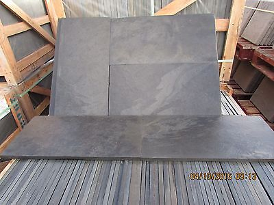 Natural  Black Slate Paving Garden Patio Slabs 10m2 600x300mm 15 to 20mm Thick