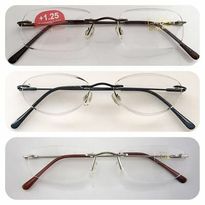 Superb Quality Rimless Reading Glasses/Spring Hinges/Stainless Steel Arms