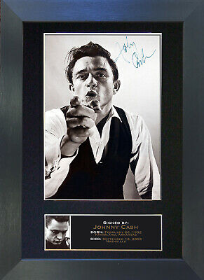 JOHNNY CASH Signed Mounted Autograph Photo Prints A4 85