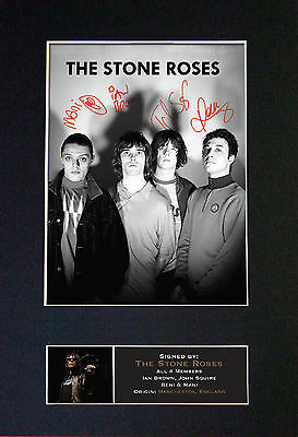 STONE ROSES Signed Mounted Autograph Photo Prints A4 380