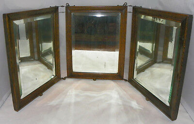 Triple Panel Antique Mission Era Beveled Glass Mirror