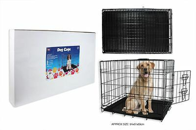 Small, Medium, Large Black Metal Dog / Puppy Cage, Carrier, Trainer, Transport