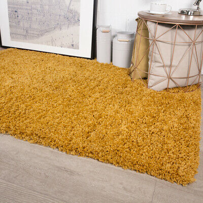 Mustard Shaggy Rug Non Shed Thick 50mm Pile Soft Fluffy Ochre Yellow Shaggy Rugs