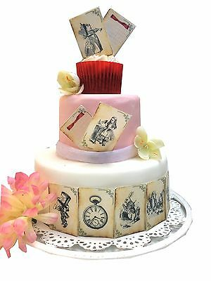 25 ICING Distressed Alice in Wonderland Edible Cupcake Toppers | Cake decoration
