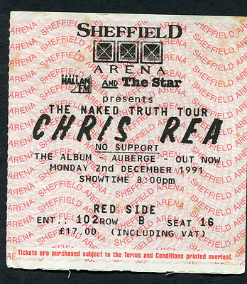 Original 1991 Chris Rea Concert Ticket Stub Sheffield UK The Naked Truth Tour