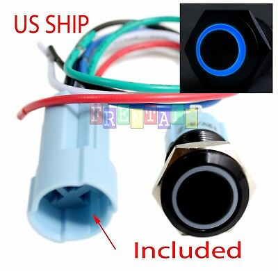 BSF 16mm Blue Angel Eye LED 12V Latching Push Button Power Switch Waterproof