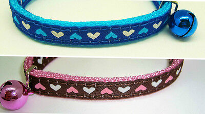 Rosewood Hearts Cat Collar Safety Buckle & LOUD Bell - BUY 2 for £2.75 each