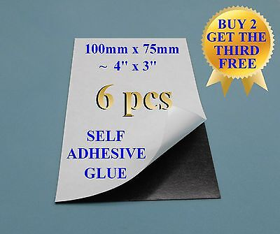 "6+1 Self adhesive flexible refrigerator magnet sheet 10x7.5cm 4x3"" peel & stick"