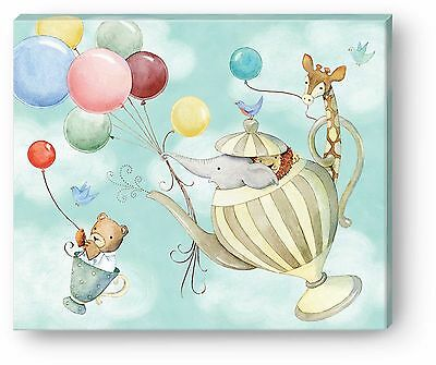 Punch Studio Home Decor Childrens Canvas Wall Art Up Up & Away Teapot