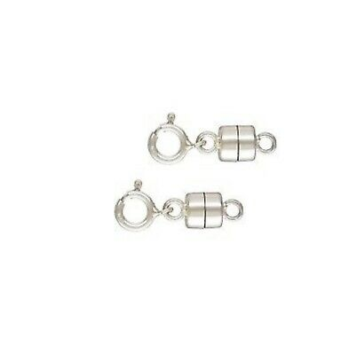 925 Sterling Silver 4.5mm Magnetic Clasp Converter w/ Spring Ring 2sets #5305-9