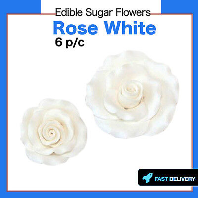 Edible Sugar Flowers 6 Medium Rose Cake Cupcake Decoration Toppers Flowers White
