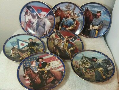 The American Civil War Generals 7 collector plates The Hamilton Collection USA