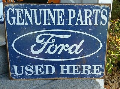 New Ford Genuine Parts Metal Vintage Style Tin Sign Garage Man Cave Auto Car