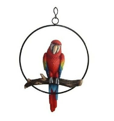 """13.5"""" Height Hanging Scarlet Macaw Parrot Perching on Branch In Metal Round Ring"""