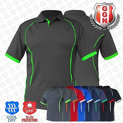 Mens Contrast Polo Shirt SPORTS WORK CLUB GYM TEAM TRADIES ACTIVE UNIFORM