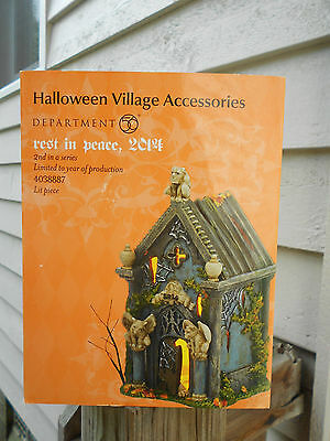 DEPT 56 HALLOWEEN VILLAGE Accessories REST IN PEACE 2014 NIB *Lighted Accessory*