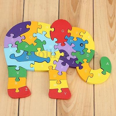 Wooden Elephant Puzzle Numbers Alphabet Jigsaw Learing Children Educational Toy