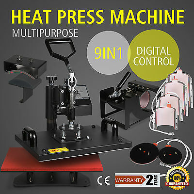 Heavy Duty High Pressure T-shirt Heat Press Machine 9 in 1 Hat Mug Sublimation