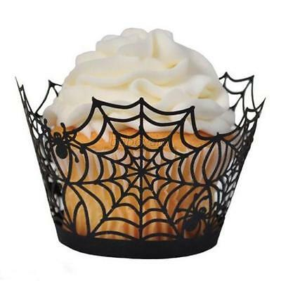 12Pcs Cupcake Wrapper Baking Cake Cups Party Spider Ghost Homen Cake Cases