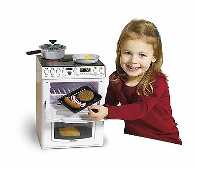 Kids Toy Electric Cooker Oven Childs Stove Hob White Play Cooking Pots Pans Dish