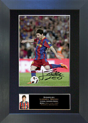 LIONEL MESSI Barcelona Signed Mounted Autograph Photo Prints A4 141
