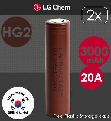 2x LG HG2 3.7V 3000mAh 20A Lithium Li-Ion 18650 Rechargeable Battery Flat Top