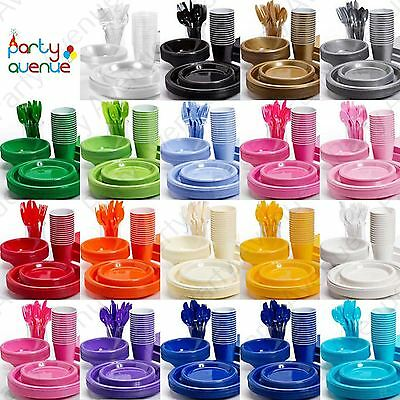 Coloured Plastic Party Tableware Birthday Wedding Catering Event Amscan Supplies