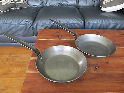 2 x De Buyer French Professional Carbon Steel Iron Pan 26cm