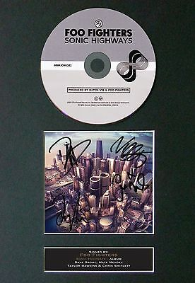 FOO FIGHTERS Sonic Highway Album Signed CD Mounted Autograph Photo Prints A4 65