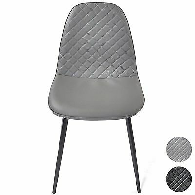 Modern Dining Table Chairs Diamond Pattern Faux Leather Lounge Kitchen Furniture