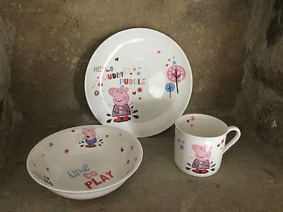 Portmeirion Peppa Pig china three piece breakfast set gift boxed