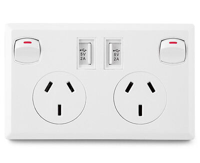 Fosani Double Powerpoint & USB Charging Port Wall Plate - White
