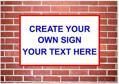 Bespoke Text Only Sign 3mm Plastic - Various Sizes Any Colours -Business Home
