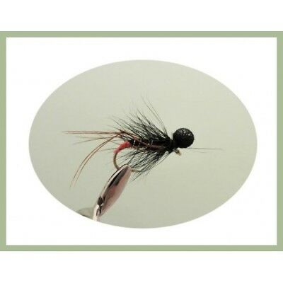 Trout Flies, Lures, 6 Black Booby Hopper Fishing Flies - Size 10