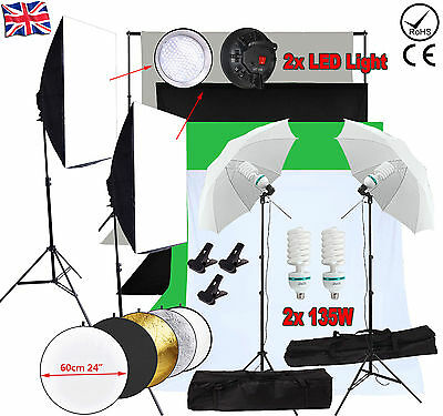 Pro Photo Studio LED Continuous Lighting Kit Softbox Umbrella Backdrop Stand Set