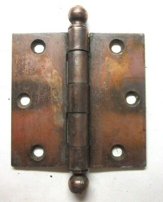 "1 Antique SW Stanley Antique 3-1/2"" Copper Plated Mortise Door Hinge Ball Finial"